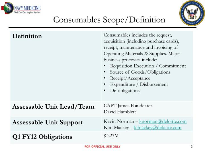 Consumables Scope/Definition
