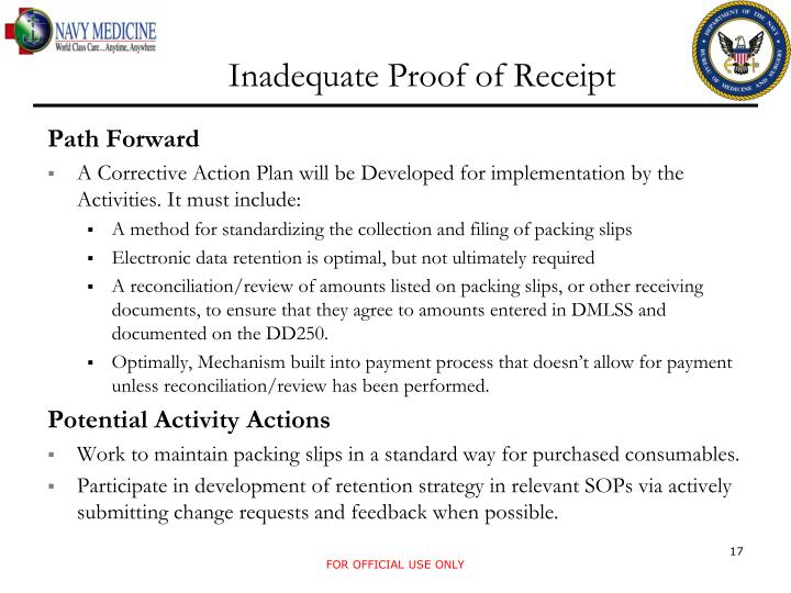 Inadequate Proof of Receipt