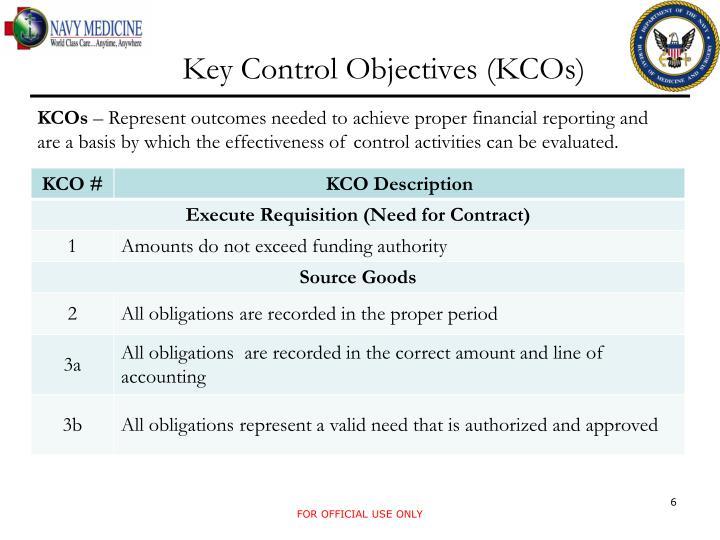 Key Control Objectives (KCOs)