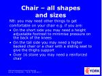 chair all shapes and sizes