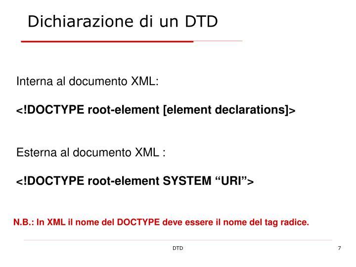 Dichiarazione di un DTD