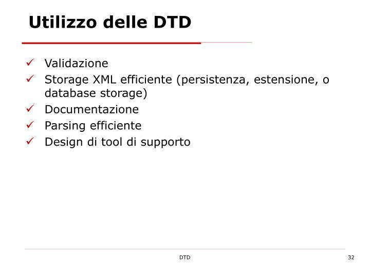 Utilizzo delle DTD