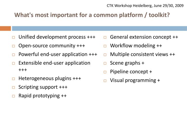 What's most important for a common platform / toolkit?