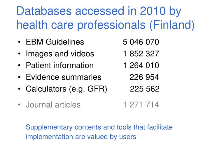 Databases accessed in 2010 by health care professionals (Finland)