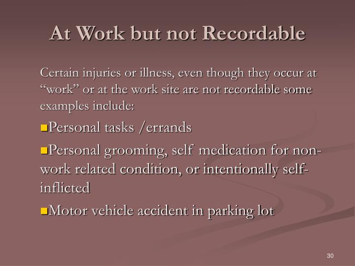 At Work but not Recordable
