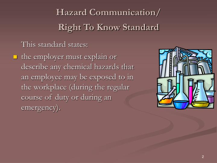 Hazard communication right to know standard1