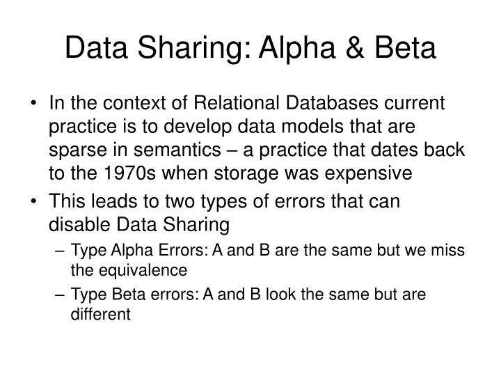 Data Sharing: Alpha & Beta