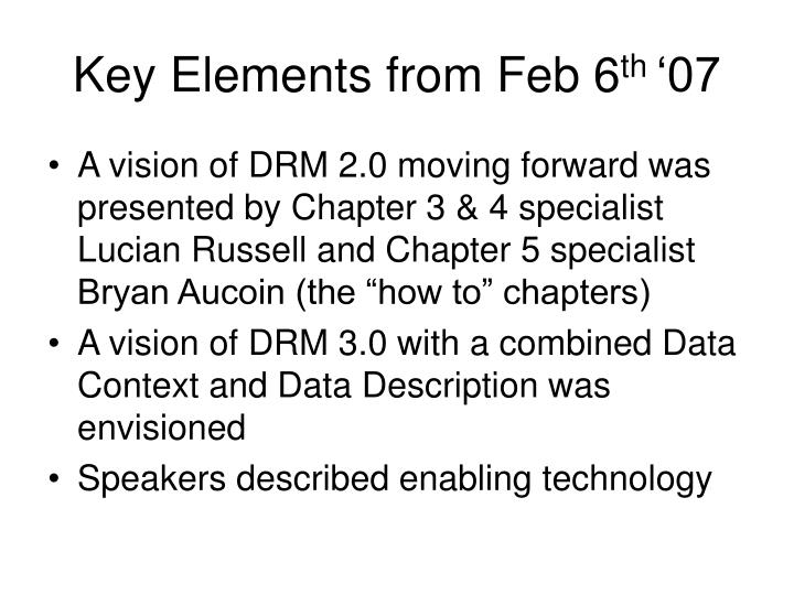 Key Elements from Feb 6