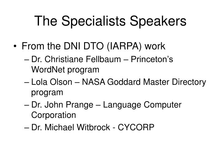 The Specialists Speakers