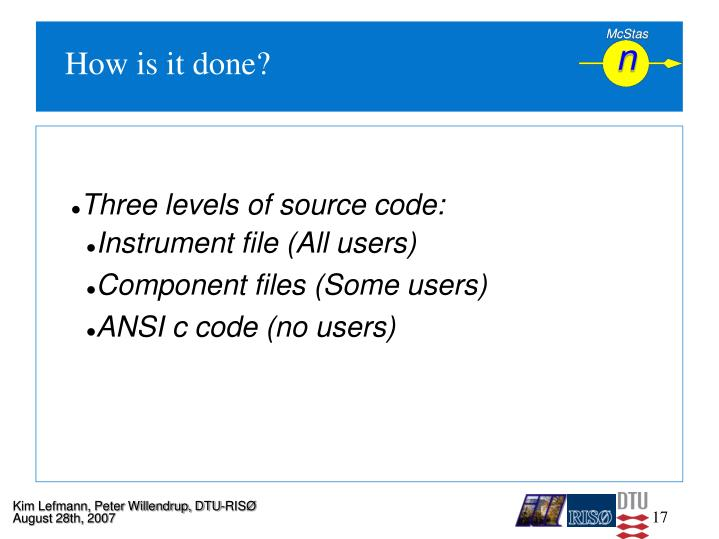 Three levels of source code: