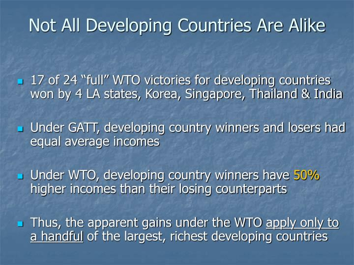 Not All Developing Countries Are Alike