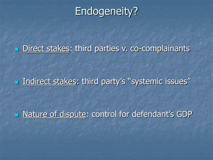 Endogeneity?