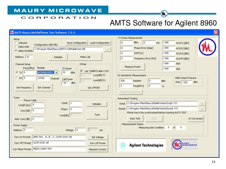 AMTS Software for Agilent 8960