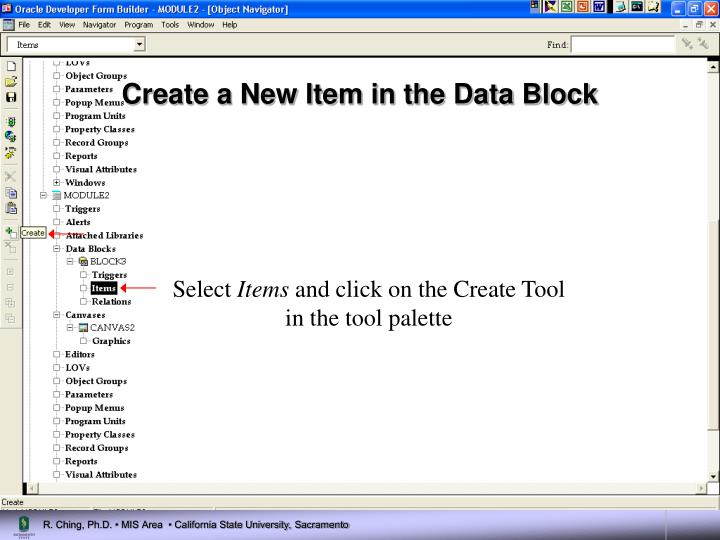 Create a New Item in the Data Block