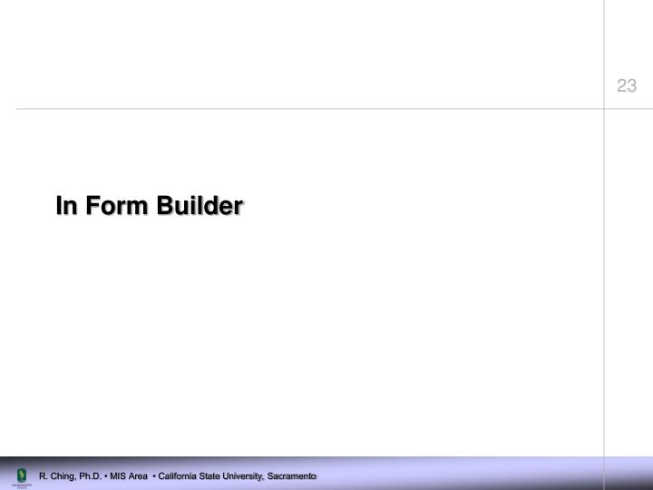 In Form Builder