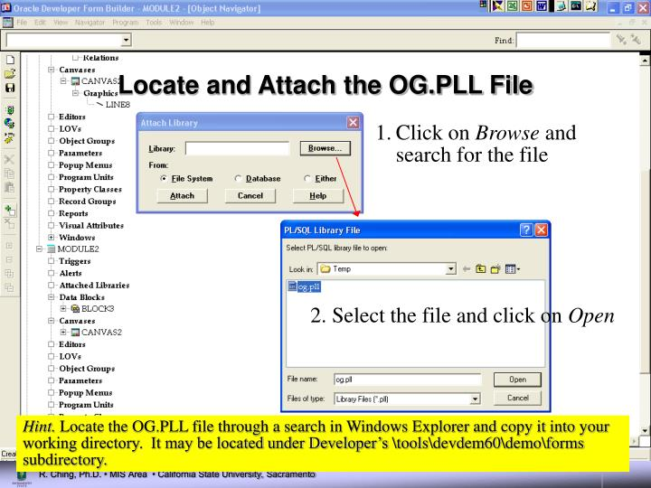 Locate and Attach the OG.PLL File