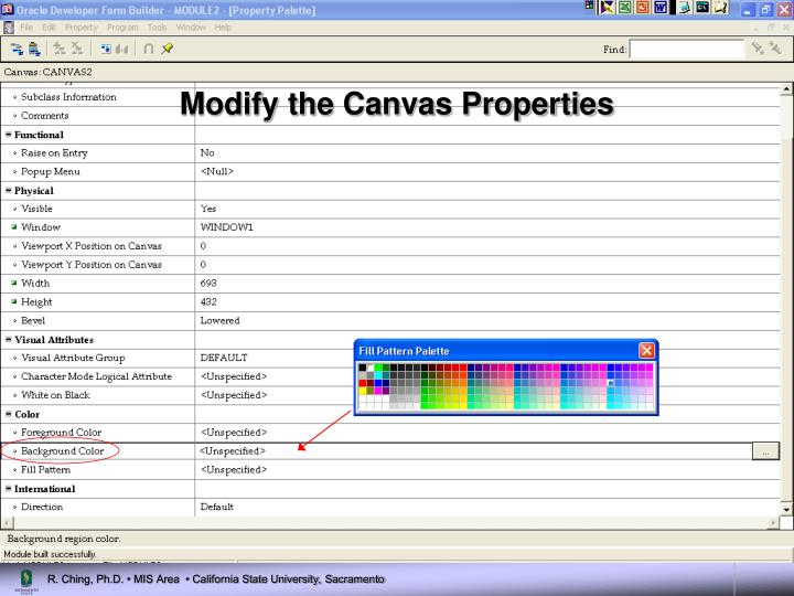 Modify the Canvas Properties