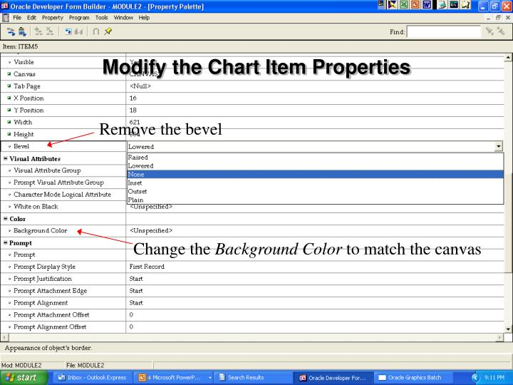 Modify the Chart Item Properties