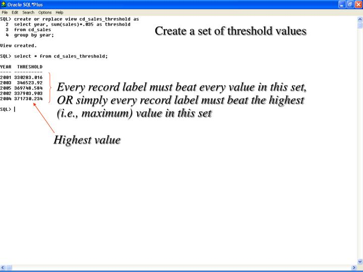 Create a set of threshold values