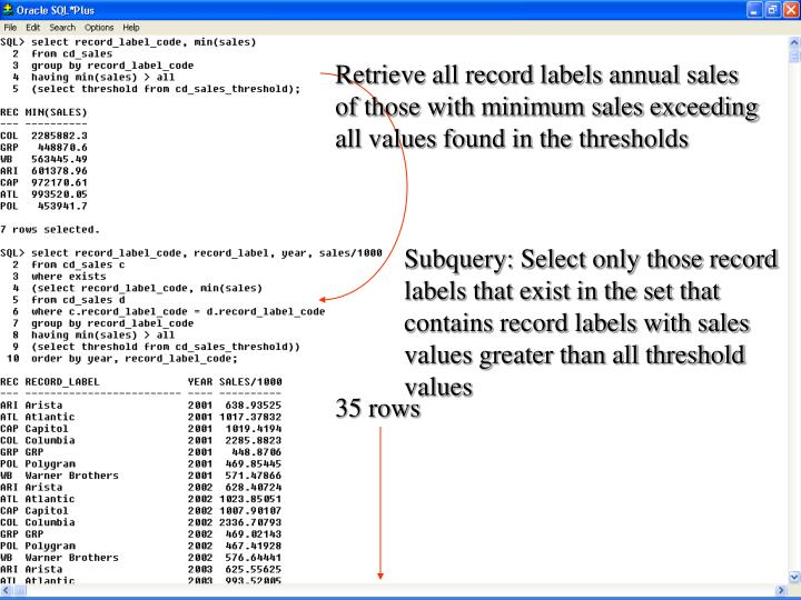 Retrieve all record labels annual sales of those with minimum sales exceeding all values found in the thresholds