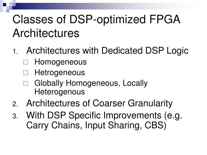 Classes of DSP-optimized FPGA Architectures