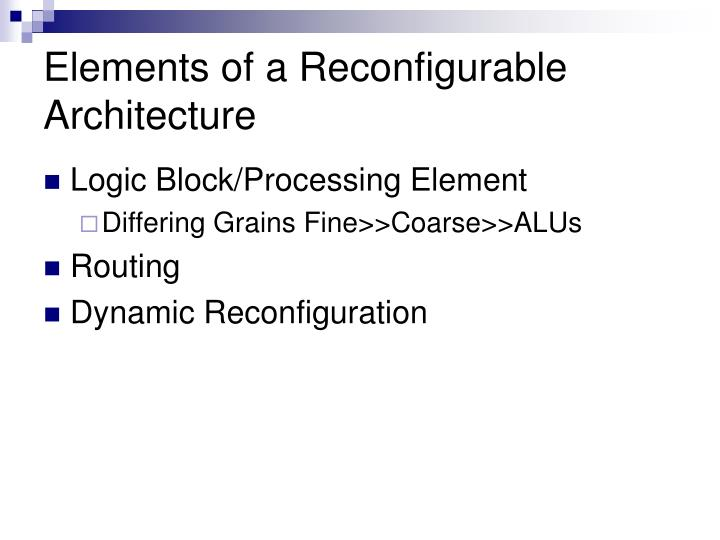 Elements of a Reconfigurable Architecture