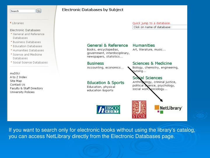 If you want to search only for electronic books without using the library's catalog,