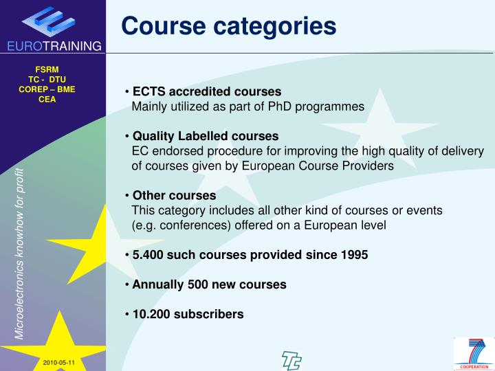 Course categories
