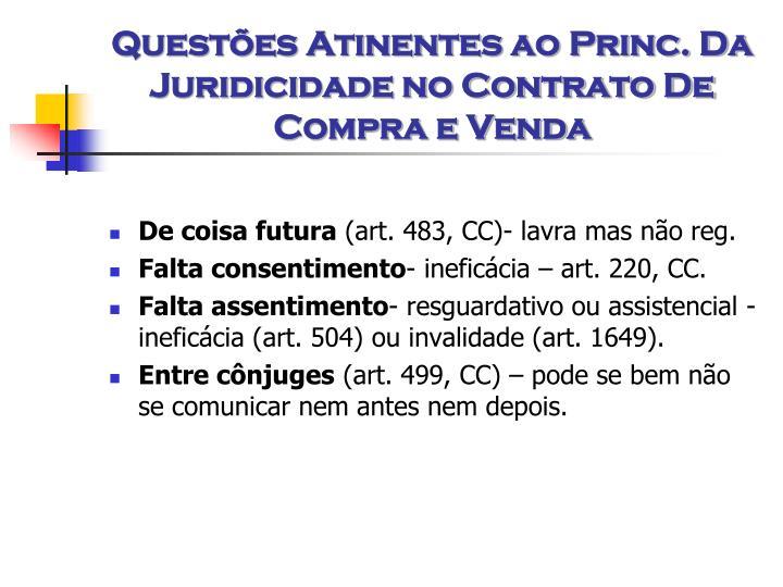 Questões Atinentes ao Princ. Da Juridicidade no Contrato De Compra e Venda