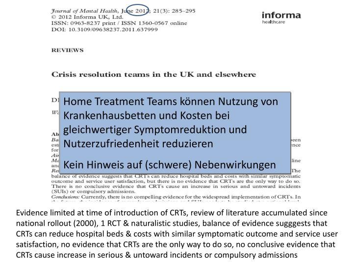 Home Treatment Teams können Nutzung von Krankenhausbetten und Kosten bei gleichwertiger Symptomreduktion und Nutzerzufriedenheit reduzieren