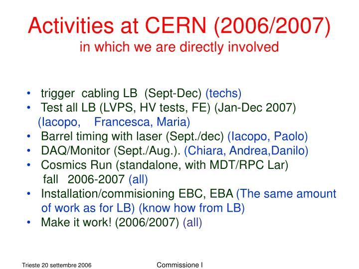 Activities at CERN (2006/2007)