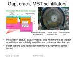 gap crack mbt scintillators