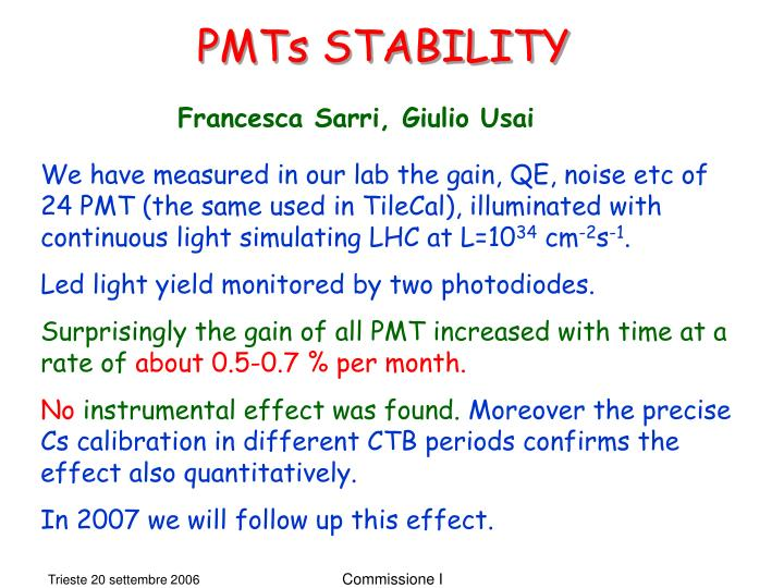 PMTs STABILITY