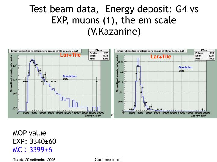 Test beam data,  Energy deposit: G4 vs EXP, muons (1), the em scale