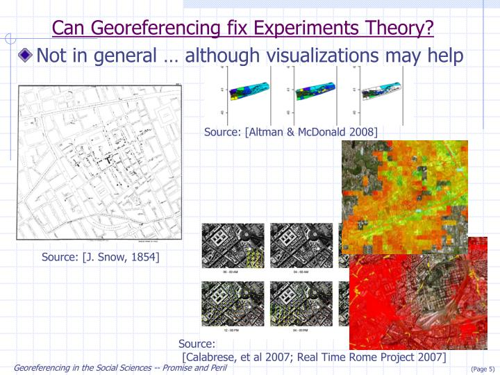 Can Georeferencing fix Experiments Theory?