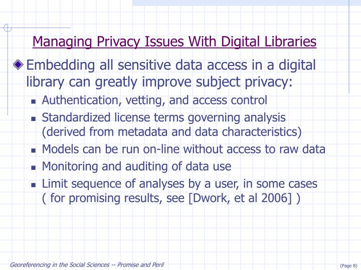 Managing Privacy Issues With Digital Libraries