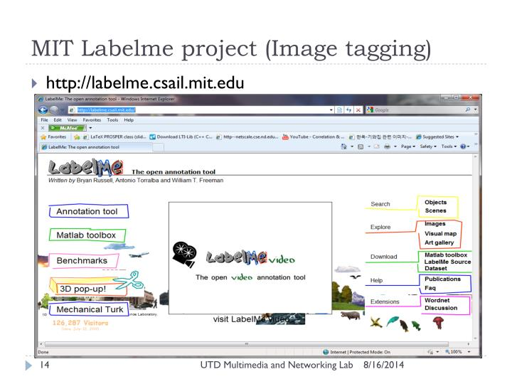 MIT Labelme project (Image tagging)