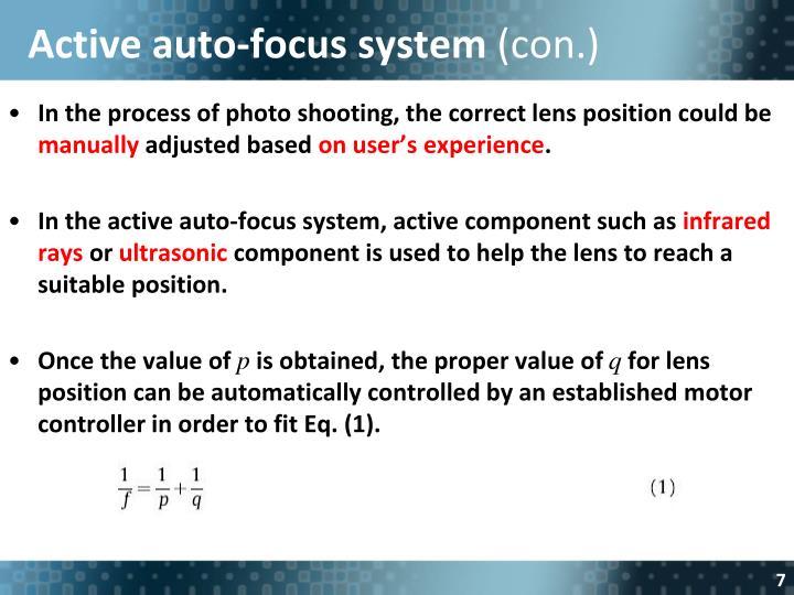 Active auto-focus system