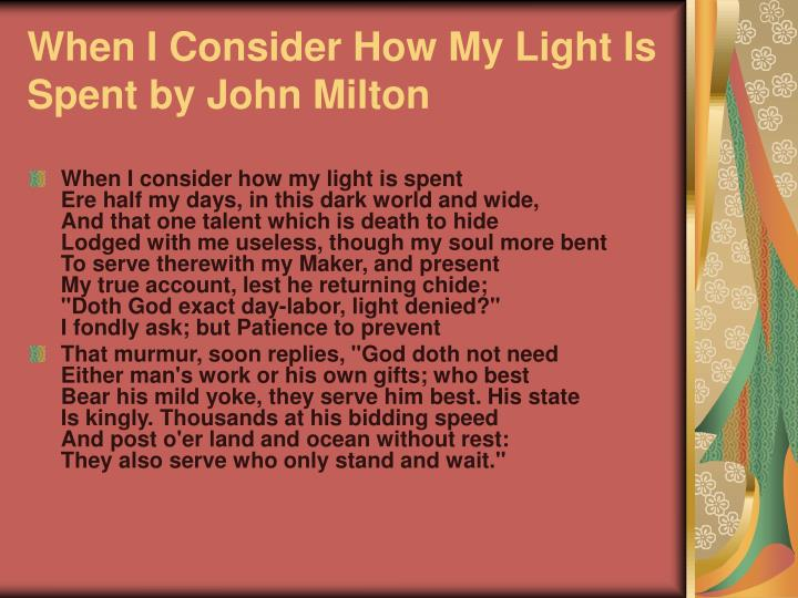 When I Consider How My Light Is Spent by John Milton
