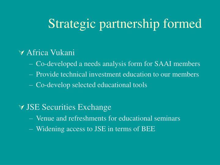Strategic partnership formed