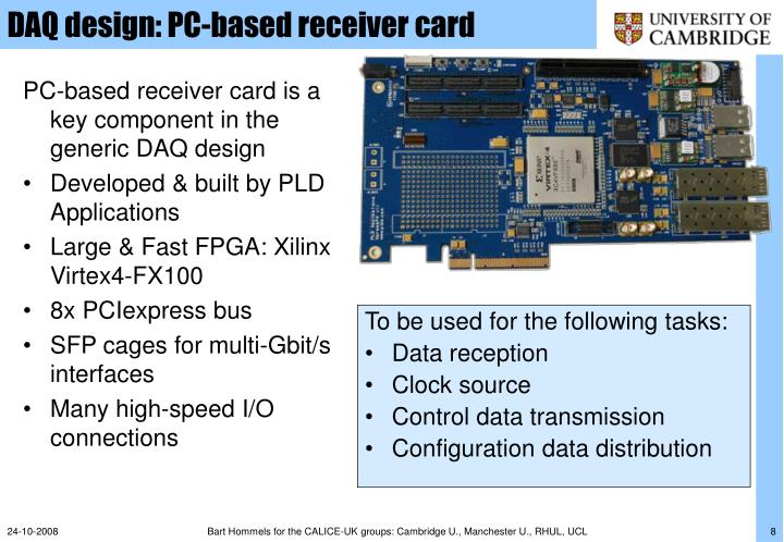 DAQ design: PC-based receiver card