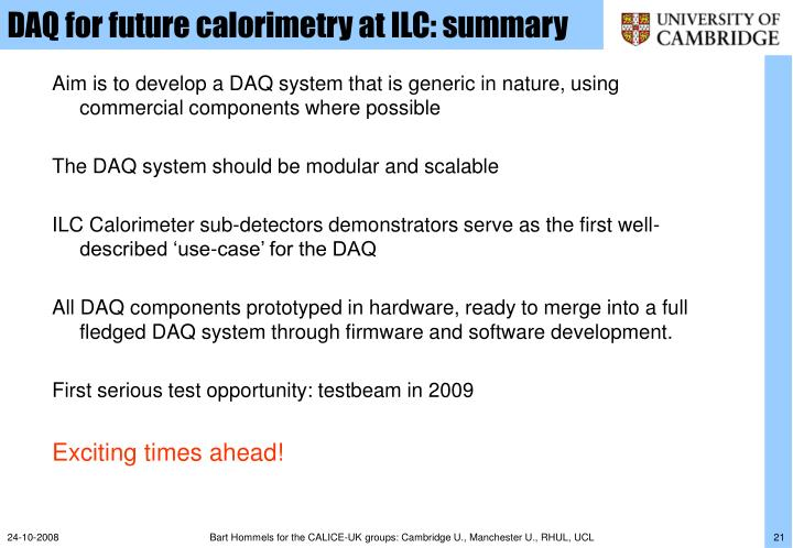 DAQ for future calorimetry at ILC: summary