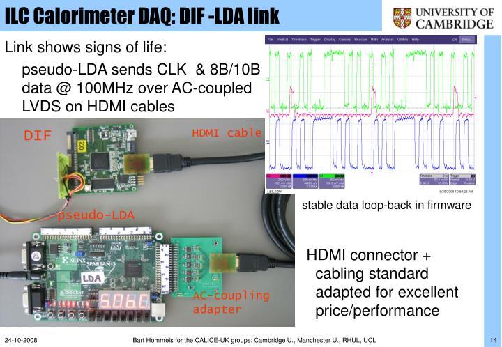 ILC Calorimeter DAQ: DIF -LDA link