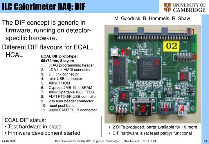 ILC Calorimeter DAQ: DIF