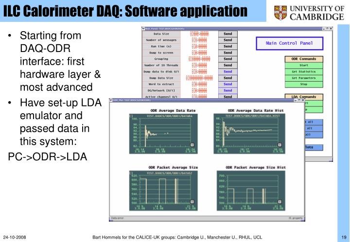 ILC Calorimeter DAQ: Software application