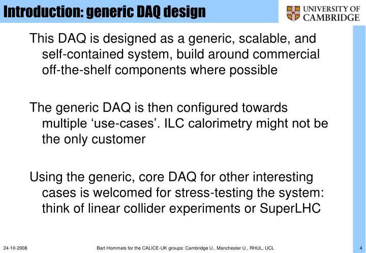 Introduction: generic DAQ design