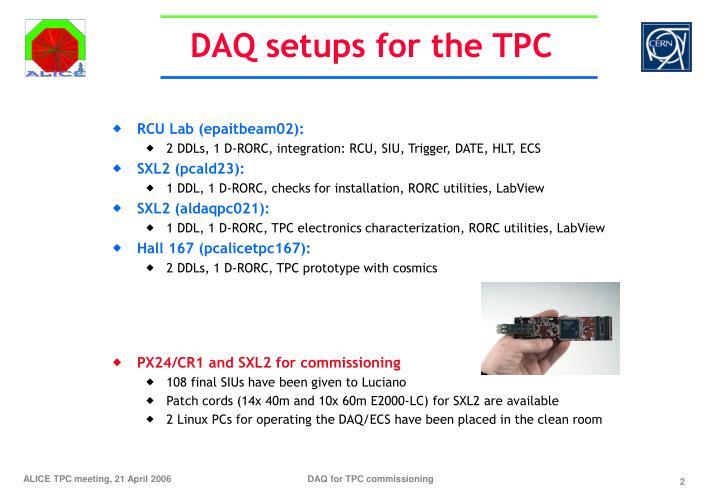 DAQ setups for the TPC