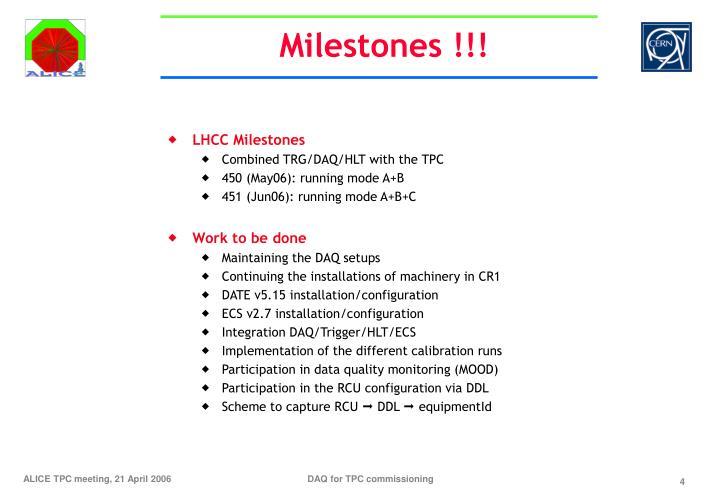 Milestones !!!