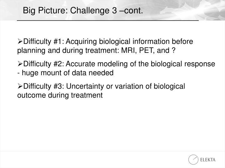 Big Picture: Challenge 3 –cont.