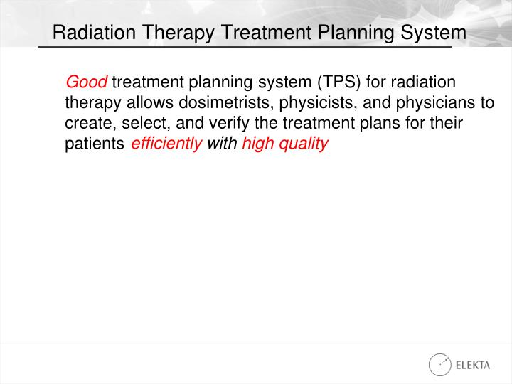 Radiation therapy treatment planning system